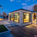 The ipe-wood roof deck