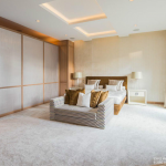 The master suite features silk carpeting