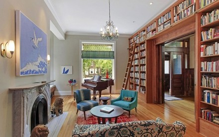405 Clinton St - library and living room