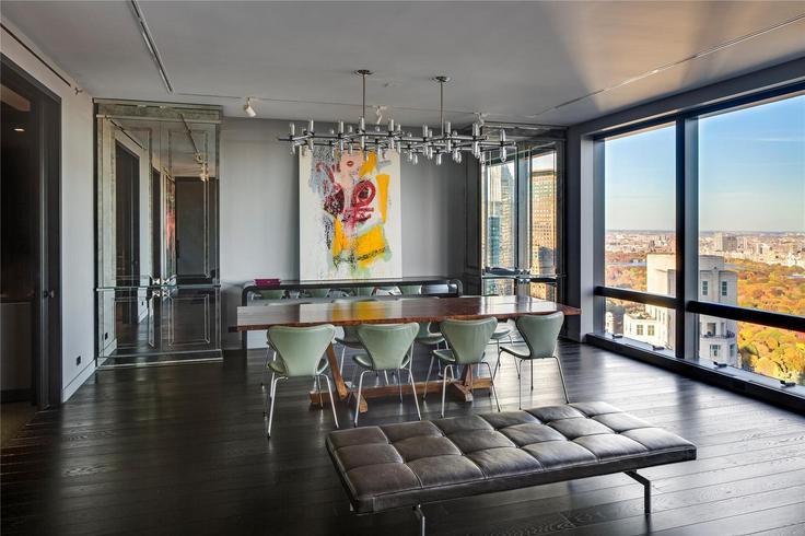 The apartment's oak floors