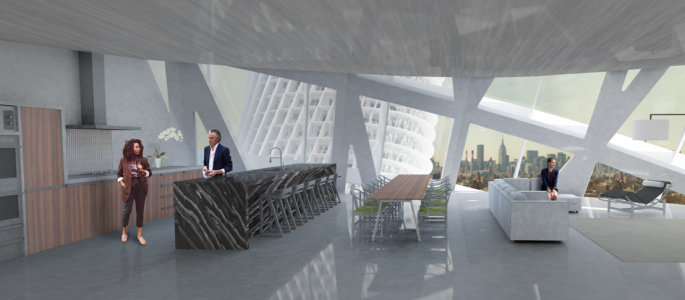 A rendering of a residential unit at the Urban Alloy Towers