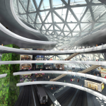 The commercial area of the complex, with the central atrium overlooking the train tracks