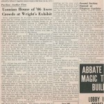 A newspaper article on the Usonian Exhibition.