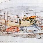 An illustration of the Frank Lloyd Wright auto showroom.
