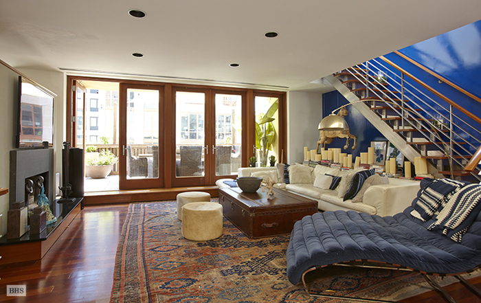 129 West 20th Street PHAB interior, walls of windows, two-story living room, National Design Award, fully renovated, two terraces