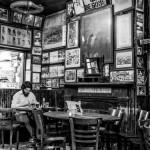 Art covers the walls inside McSorley's.