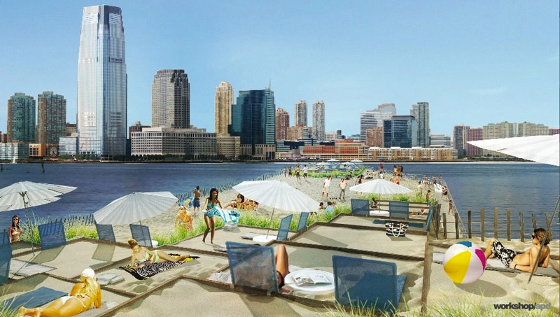 Blayne Ross fake beach hudson rive nyc