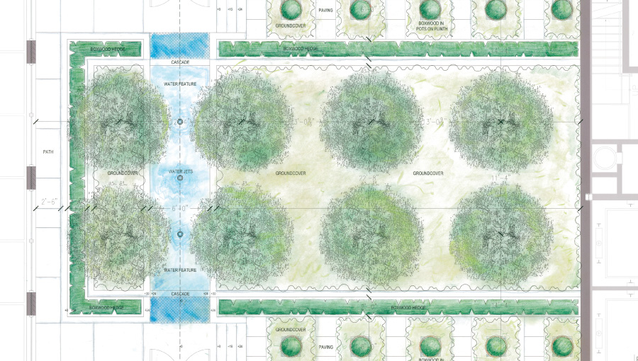 """A rendering of the """"look but don't touch"""" courtyard to be built at the Sterling Mason plan"""