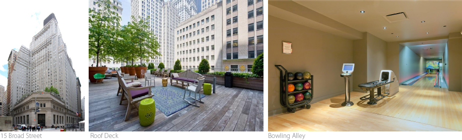 NYC luxury real estate, athletic building amenities, Downtown by Stark, 15 Broad Street