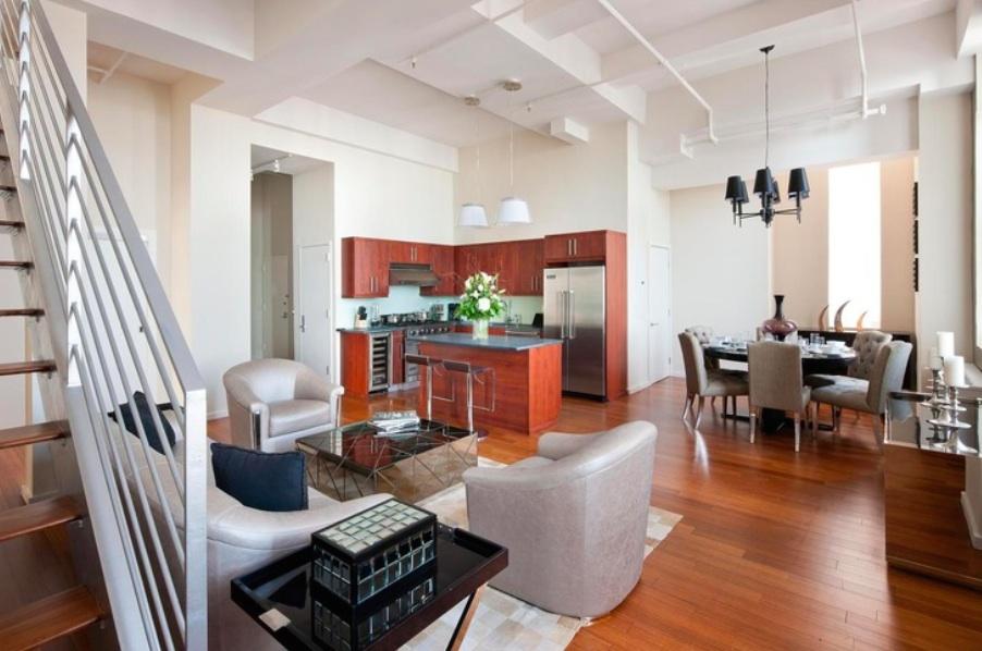 Belltel Lofts, 365 Bridge st 26B, loft interior, cool roof deck