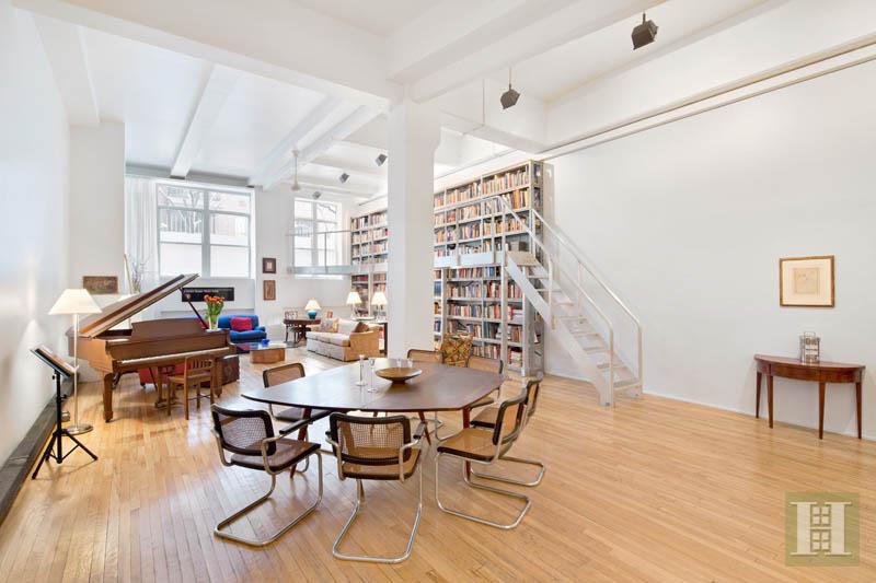 377 West 11th St 1A, Halstead Properties, loft interiors, glazed glass, translucent industrial sliding doors