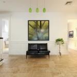 Clinton Hill real estate, modern carriage house, 407 Vanderbilt Avenue, travertine floors