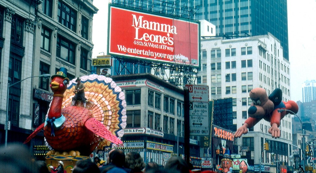 The Macy's Thanksgiving Day Parade passes through Times Square in 1979.