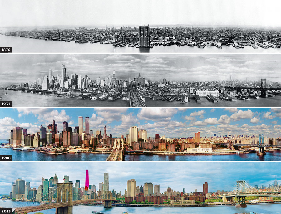 These photos of Manhattan from Brooklyn stitched together show how things have changed, though you don't get to see the truly famous skyscrapers from this angle.