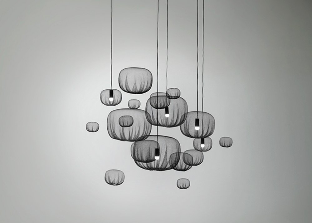 Nendo, Farming-net lights, minimalistic lights, agricultural net, knitted material, heat forming technique, Japanese design
