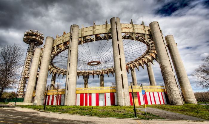 philip johnson, tent of tomorrow, new york state pavilion, the mets, vandalized, vandals, property damage