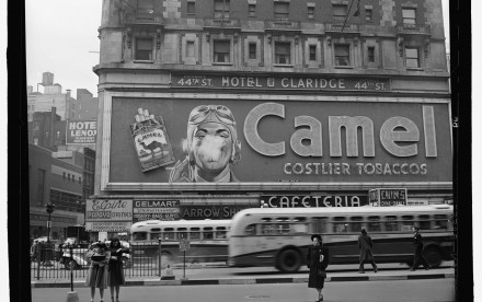 The famous smoking billboard in Times Square.