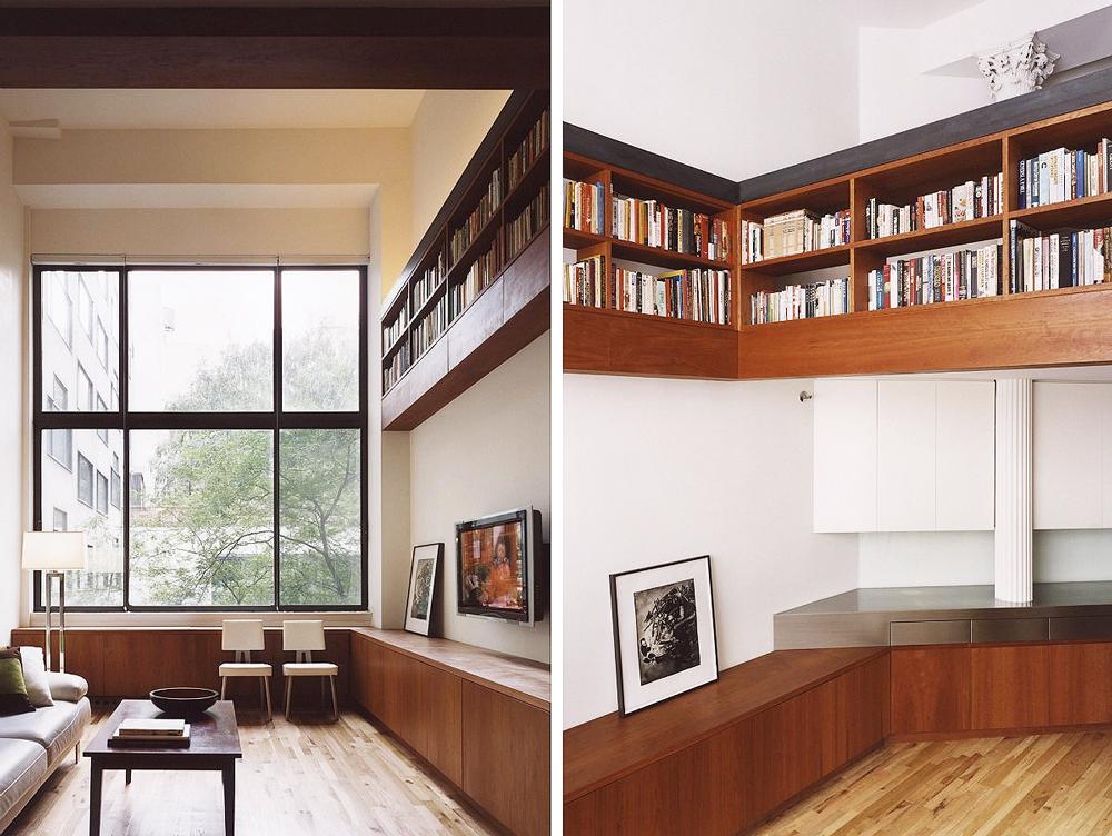 Specht Harpman, Eiche Residence, East Village modern design, interior design with straight lines, built-in shelving, courtyard views