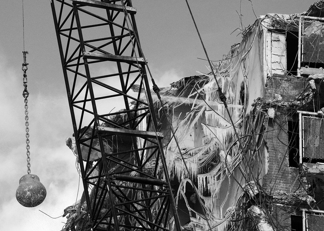 wrecking ball, building demolition, historic preservation