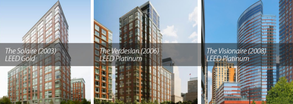 Battery Park City, NYC LEED buildings, The Verdesian, The Solaire, The Visionaire