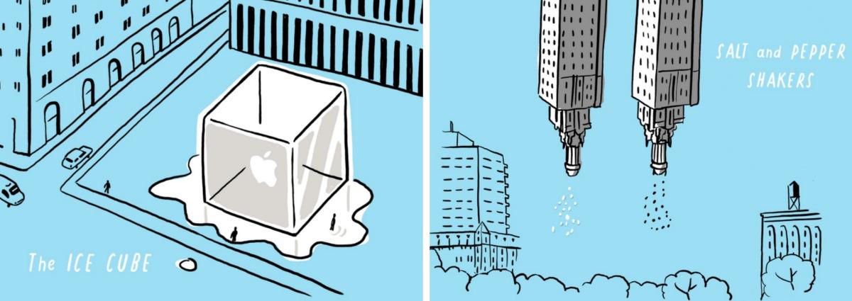 Nicholas Blechman, Gastro-Architecture, Chrysler Building, reimagined landmarks