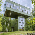 Gluck+, Upstate New York, glazed tower home, Tower House, unique vacation home, forest mirador