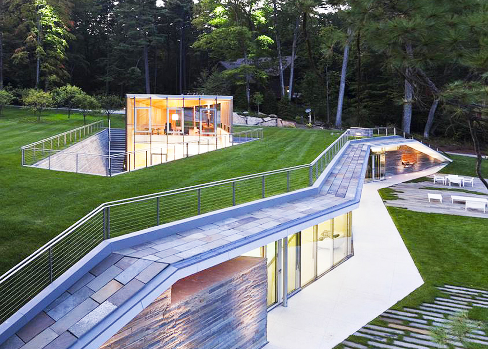 Green Roofed Pool Pavilion By Gluck Heats Up With