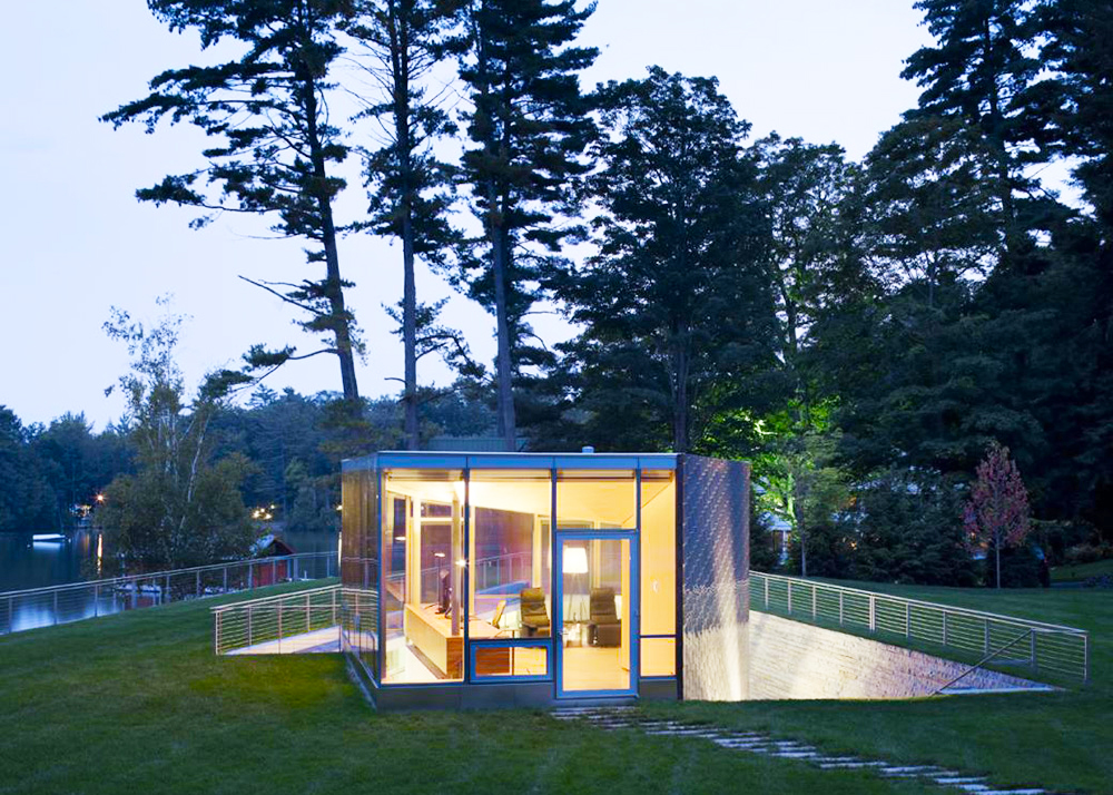 Gluck+ architects, Pool Pavilion, green roof, geothermal energy, Adirondack Mountains,