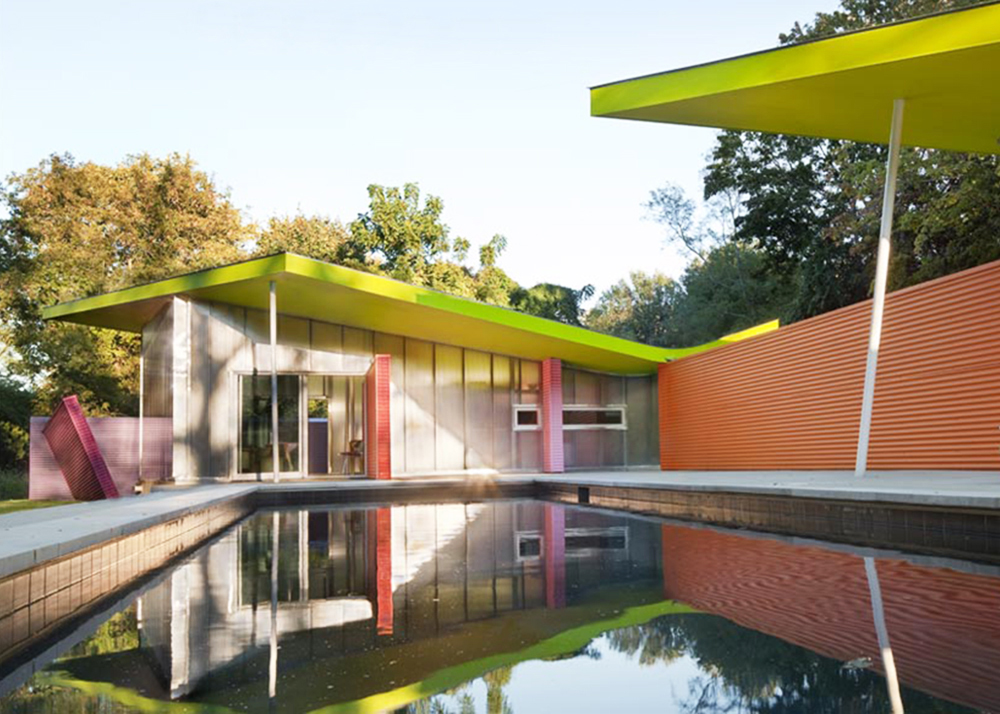 colorful home, Shelter Island Pavilion, Mies van der Rohe's Barcelona Pavilion, Stamberg Aferiat, polycarbonate walls, passive house, geothermal energy, Shelter Island