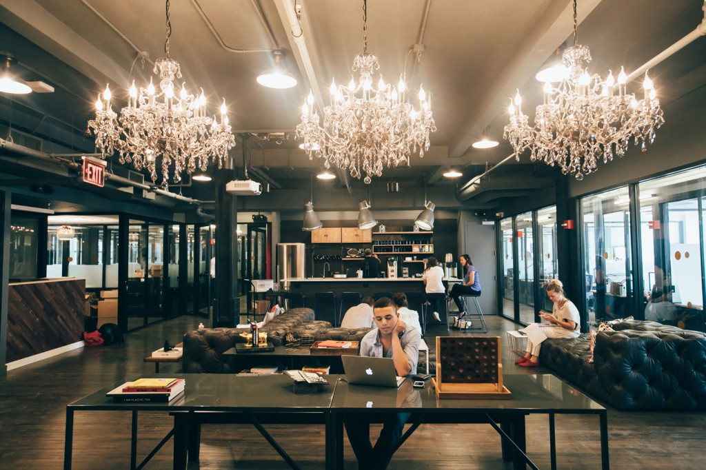 Chandeliers in WeWork's Park South collaborative work environment.