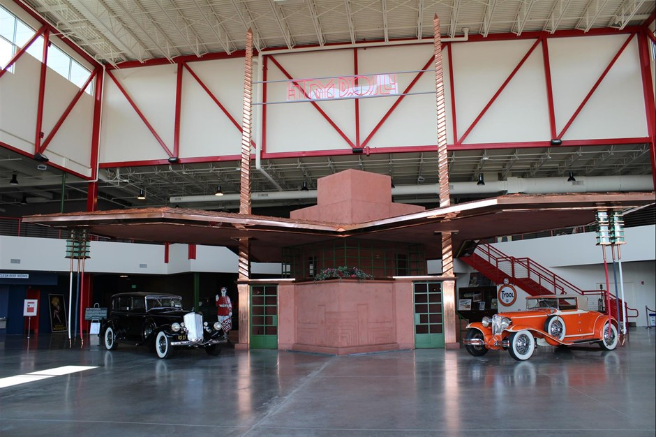 A full-scale model of Frank Lloyd Wright's unbuilt gas station design