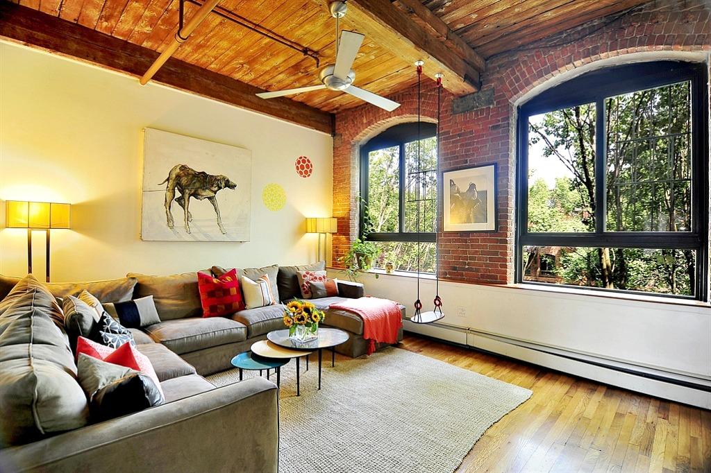 Park slope loft in former ansonia clock company building for Living room brooklyn 86 st