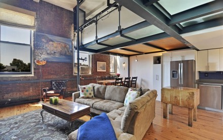 459 12th St #3D, apartment with steel mezzanine, duplex conversion