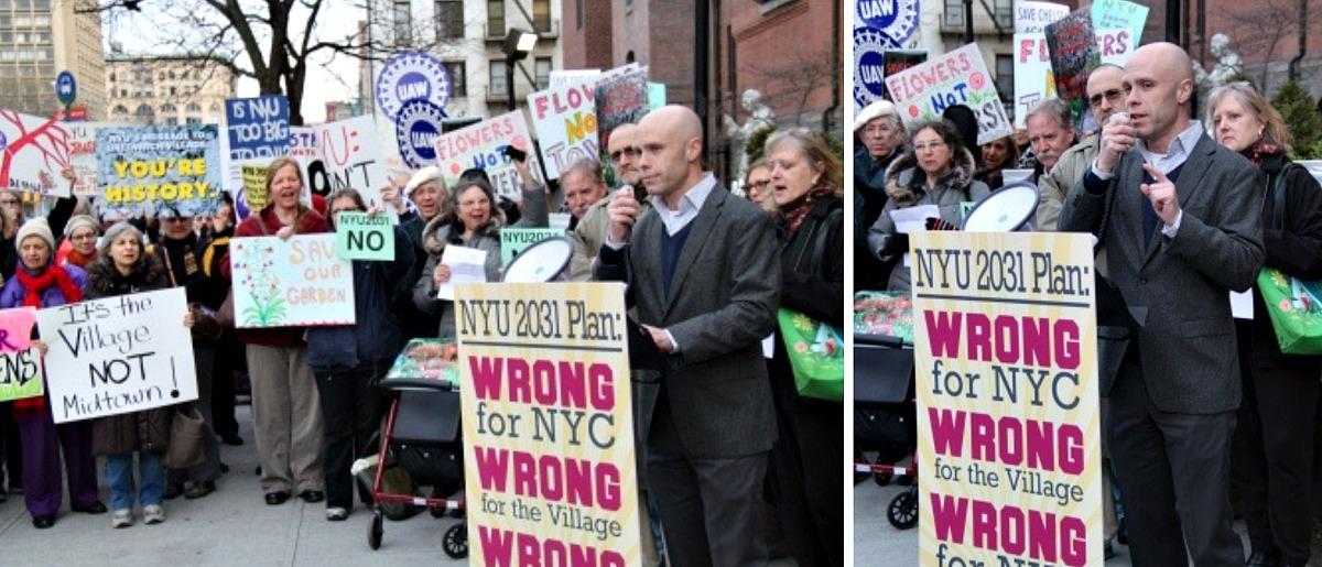 GVSHP, NYU rally, Andrew Berman, Greenwich Village Society for Historic Preservation