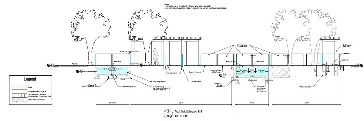 Pool Detail Plans, Adam Kushner, KUSHNER Studios, 3D-Printed estate