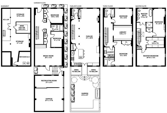 6sqft boerum hill townhouse floor plan Townhouse plans