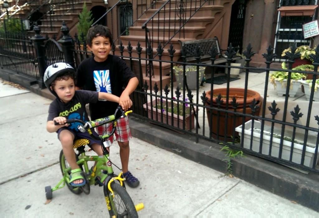 city kids, nyc neighborhood, kids on bikes, bed stuy