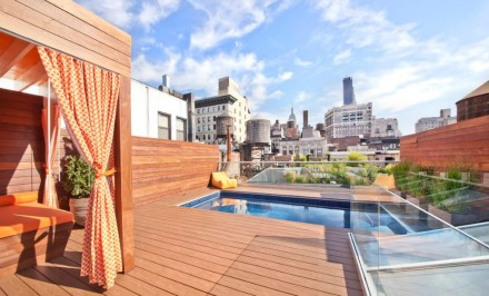 17 East 17th Street, apartment with rooftop pool, floating glass staircase, renovated historic landmark building