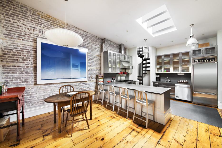 217 2nd Avenue, industrial chic kitchen, vegetable garden, stamped steel spiral staircase