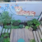311 South 4th Street, landscaped courtyard by James Stephenson Garden Design, Polina Solovelchik wall mural