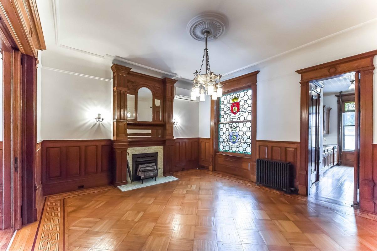 5 Plaza Street West, landmark limestone townhouse, Frederick Tyrrell architect, private gated driveway