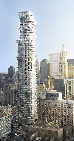 Herzog de Meuron, Swiss, Jenga, TriBeca, Hines, Alexico, New York Law, tallest, penthouses, cantilever,downtown, church street