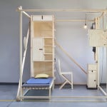 Maciej Chmara and Ania Rosinke, minimal living unit, 2,5³, Viennese design, Papanek, multifunctional living space, wooden cube, Contemporary Nomadism