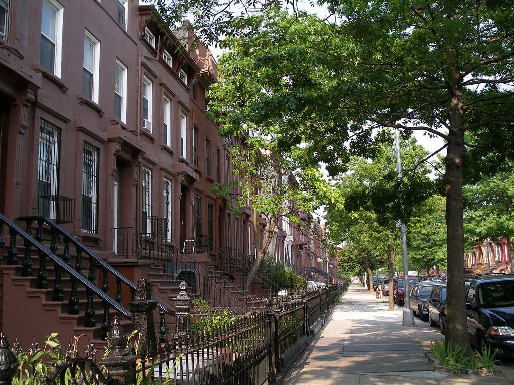 bed stuy block and brownstones