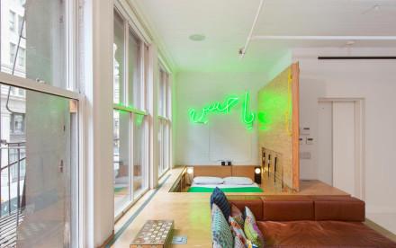 in floor bed, bed help beatles, neon art