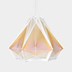 Julie Lansom, Retro-Futuristic style, Sputnik Lamps, paris-based designer, wood and thread, geometric lamps, French design, Russian satellite