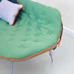 Stephanie Hornig, Camp Daybed, Berlin's University of Arts, nomadic lifestyle, nomadic furniture, multifunctional sofa, sleeping bag on legs, camping inspiration