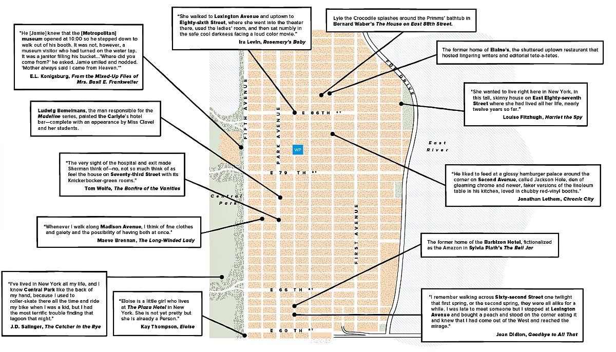 Upper East Side Literary Map