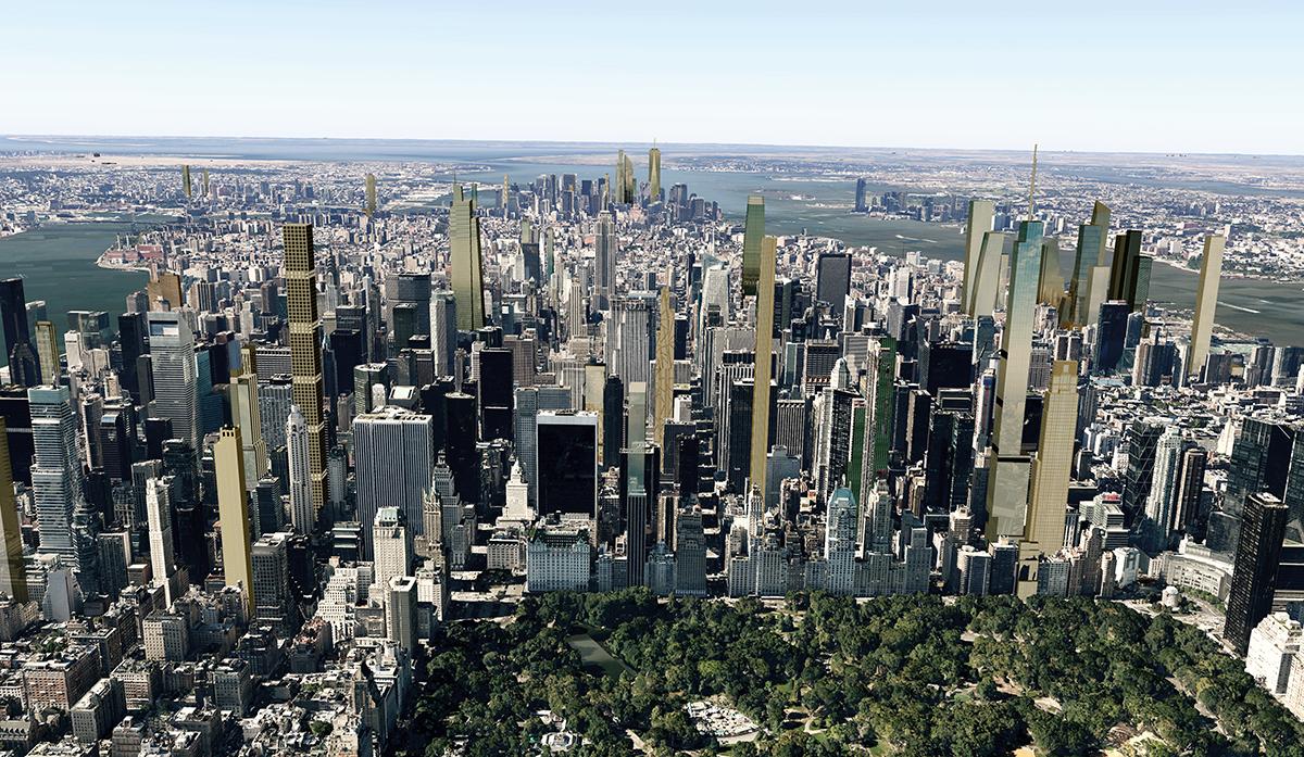 Future NYC, Central Park shadows, accidental skyline