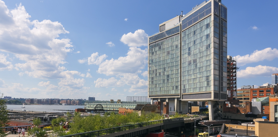 Standard Hotel , high line hotel, high line ennead architects, the standard nyc, big building over the high line